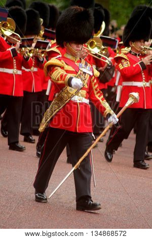 Marching Guards Band with Drum Major Trooping the Colour London England
