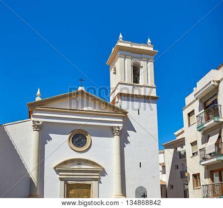 Benidorm church saint Jaime and Ana white Mediterranean village of Alicante Spain