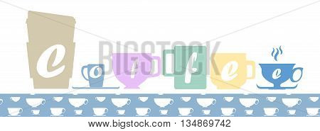 Multicolored coffee cup silhouettes of different shapes with coffee cup, seamless pattern swatch pastel color palette