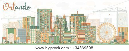 Abstract Orlando Skyline with Color Buildings. Vector Illustration. Business Travel and Tourism Concept with Orlando City. Image for Presentation Banner Placard and Web Site.