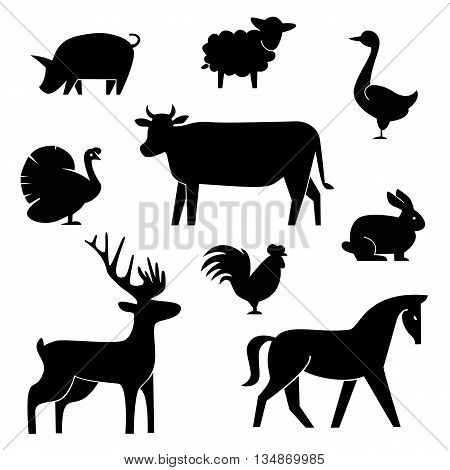 Set of butchery logotype templates. Cartoon farm animals with sample text. Retro styled toy farm animals black silhouettes collection for meat stores, groceries, packaging and advertising. Vector butcher block design. EPS 10