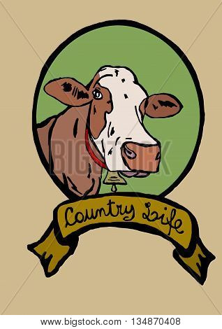 Country life image logo of a cow with bell