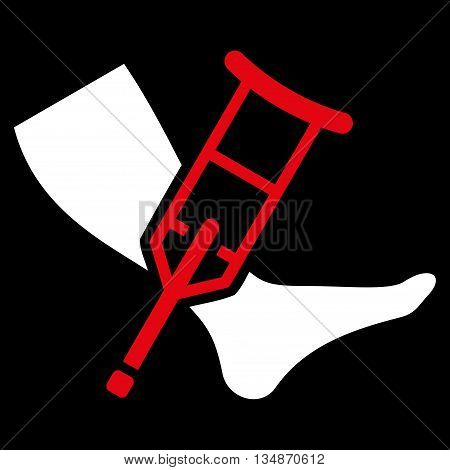 Leg and Crutch vector icon. Style is bicolor flat icon symbol with rounded angles, red and white colors, black background.