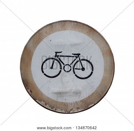 Front view of a rusted street bicycle sign isolated on white background