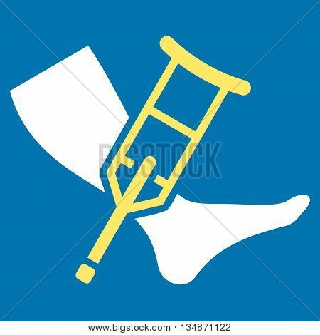 Leg and Crutch vector icon. Style is bicolor flat icon symbol with rounded angles, yellow and white colors, blue background.