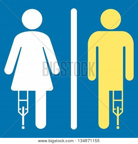 Patient WC Persons vector icon. Style is bicolor flat icon symbol with rounded angles, yellow and white colors, blue background.