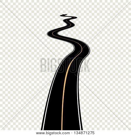 Curved winding road with white markings. Vector illustration eps 10