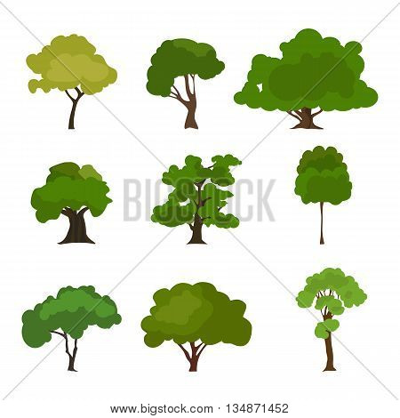 Tree icon set. Rree silhouette forest, leaf tree vector, tree isolated, tree branch. Illustration EPS 10