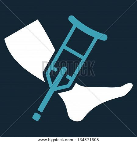 Leg and Crutch vector icon. Style is bicolor flat icon symbol with rounded angles, blue and white colors, dark blue background.