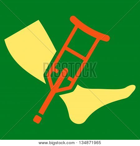 Leg and Crutch vector icon. Style is bicolor flat icon symbol with rounded angles, orange and yellow colors, green background.