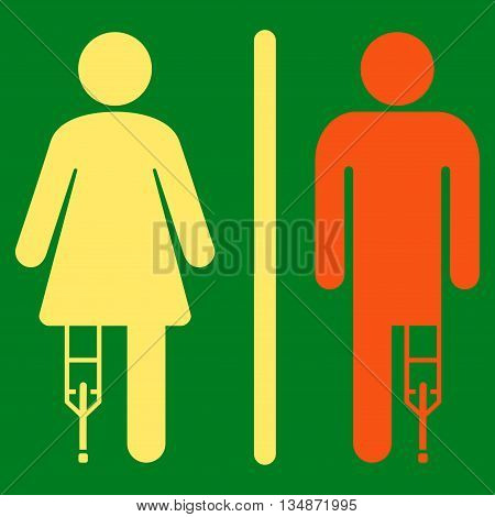 Patient WC Persons vector icon. Style is bicolor flat icon symbol with rounded angles, orange and yellow colors, green background.
