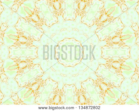 Abstract geometric seamless background. Concentric circle ornament in orange, peach color, apricot color, beige and pastel green, delicate and dreamy.