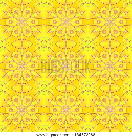 Abstract geometric seamless background. Regular floral pattern, yellow orange blossoms with violet outlines and ellipses, ornate and dreamy.