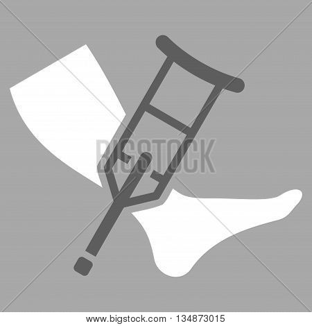 Leg and Crutch vector icon. Style is bicolor flat icon symbol with rounded angles, dark gray and white colors, silver background.