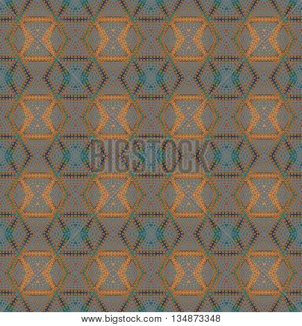 Abstract geometric seamless background. Regular diamond pattern with elements in orange, purple, turquoise, blue and green on gray, extensive and vividly.