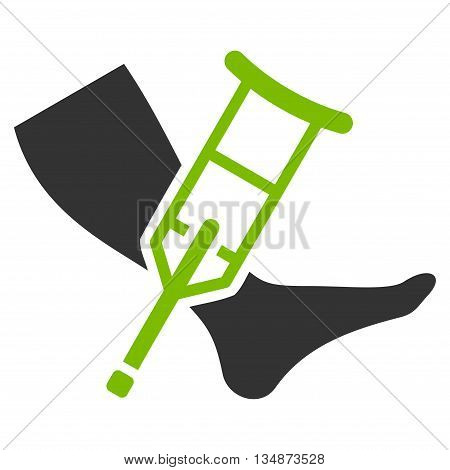 Leg and Crutch vector icon. Style is bicolor flat icon symbol with rounded angles, eco green and gray colors, white background.