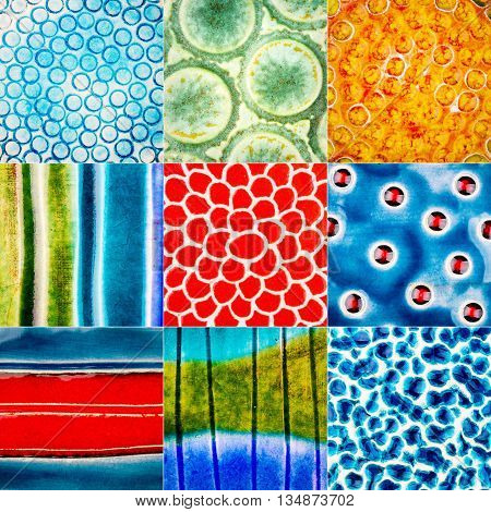 Big size collection of various colorful ceramic textures. Abstract pottery background