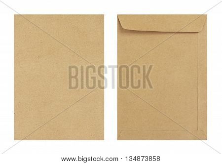 Brown Envelope Front And Back Isolate On White Background, Clipping Path