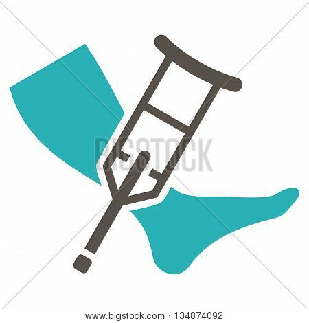 Leg and Crutch vector icon. Style is bicolor flat icon symbol with rounded angles, grey and cyan colors, white background.