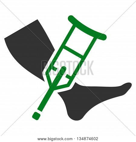 Leg and Crutch vector icon. Style is bicolor flat icon symbol with rounded angles, green and gray colors, white background.