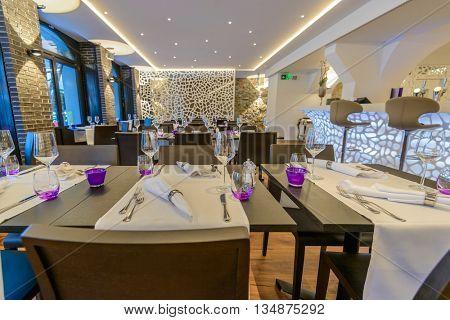 Modern dining room in luxury restaurant.