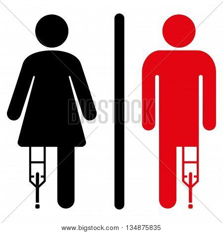 Patient WC Persons vector icon. Style is bicolor flat icon symbol with rounded angles, intensive red and black colors, white background.