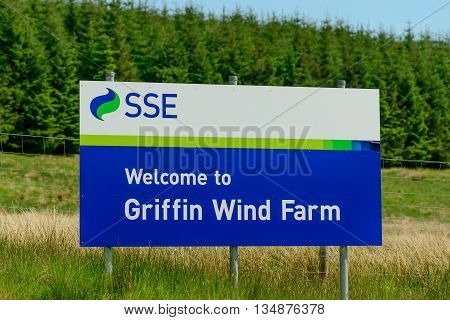 ABERFELDY SCOTLAND - JUNE 06 2016: Sign at entrance to Griffin Wind Farm near Aberfeldy in Perthshire Scotland.