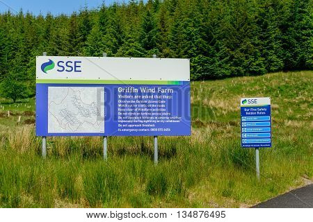 ABERFELDY SCOTLAND - JUNE 06 2016: Sign at entrance to Griffin Wind Farm near Aberfeldy in Perthshire Scotland