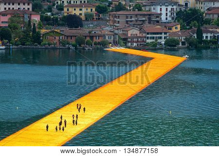 The Floating Piers. The Artist Christo Walkway On Lake Iseo. First Accredited Photographers In The D