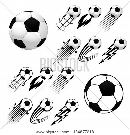 Football. Soccer. Soccer balls with different fly animations like fire or stars isolated on white background. Europe soccer championship. Europe football championship. Football ball. Soccer ball.