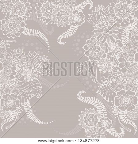 Ornate vector card template in Indian mehndi style. Hand drawn abstract background. Invitation cards with mehndi elements. Floral ornament. Islam arabic indian ottoman motifs.