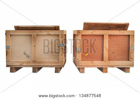 wood storage boxes isolated white, front view