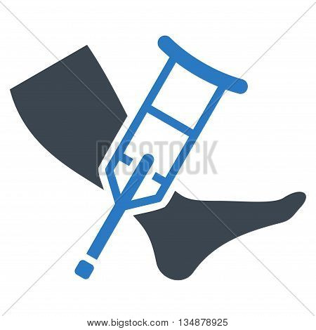 Leg and Crutch vector icon. Style is bicolor flat icon symbol with rounded angles, smooth blue colors, white background.