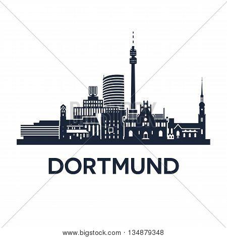 Abstract skyline of city Dortmund in Germany, vector illustration