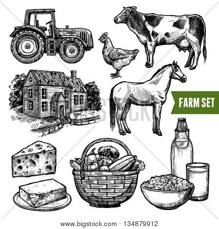 Black and white organic farm set with healthy food farm animals tractor and farmhouse on white background sketch hand drawn isolated vector illustration