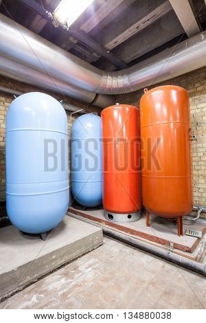 in the basement there are four major expansion boilers