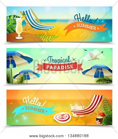 Tropical beach resort horizontal banners set with deck chair and cocktail cartoon isolated vector illustration