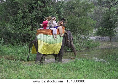 SIGIRIYA, SRI LANKA - MARCH 16, 2015: Tourists ride on an elephant. The tourist landmark of the Sri Lanka