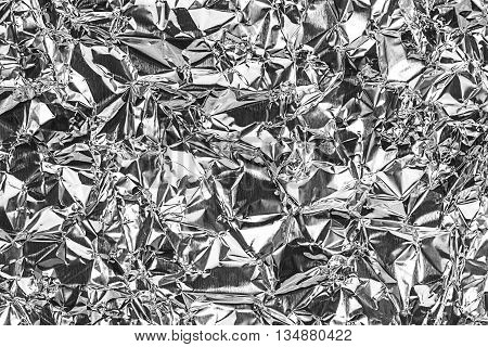 Shiny Silver Foil Texture For Background And Shadow. Crease