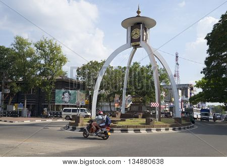 ANURADHAPURA, SRI LANKA - MARCH 11, 2015: Decorative clock tower at the crossroads city of Anuradhapura. Historical landmark of the city Anuradhapura, Sri Lanka