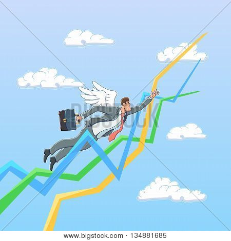 Business angel in the sky. Business illustration.