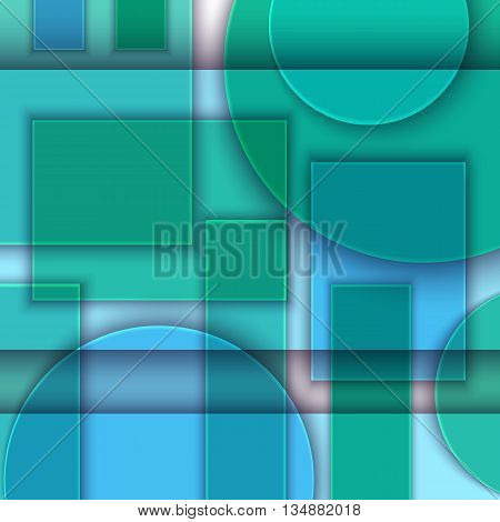 Material design. Abstract background of geometric shapes. Simulation of glass or transparent plastic. Art poster. Vector illustration. EPS 10.