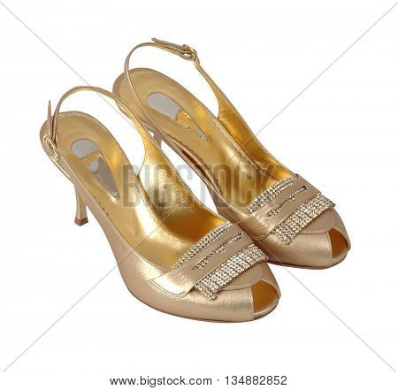 golden shoes isolated on white background