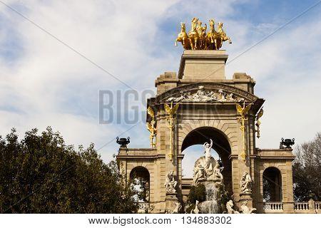 Quadriga of Aurora on top of the Cascada font in Ciutadella Parc in Barcelona Spain.