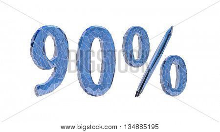transparent crystal, number set, 9, nine, 0, zero, nil, percent,3d illustration