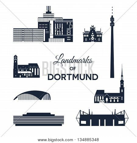 Landmarks of city Dortmund, Germany. Collection of various landmarks.