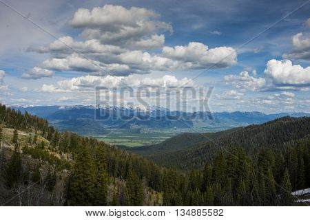 View from scenic Teton Pass looking down the mountain to Jackson Hole valley below