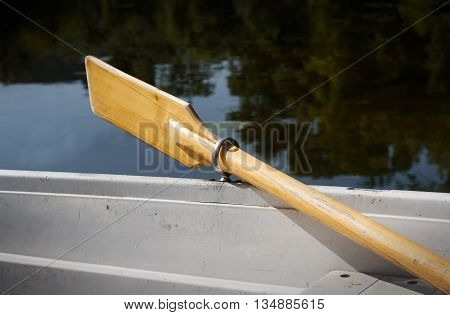 horizontal perspective view of a recreational boat on a lake with oars up