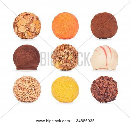 Chocolate sweets collection. Chocolate candies isolated on white background.