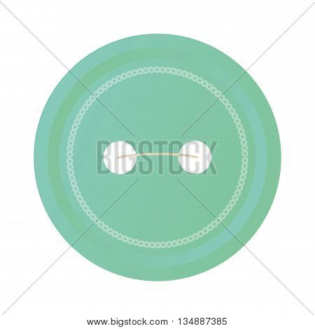 Cloth part concept represented by blue traditional button  icon over flat and isolated background